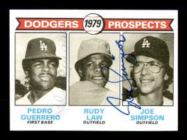 Pedro Guerrero & Joe Simpson Autographed 1979 Topps Rookie Card #719 Los Angeles Dodgers SKU #167845