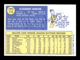 Alex Johnson Autographed 1970 Topps Card #115 Cincinnati Reds SKU #168109