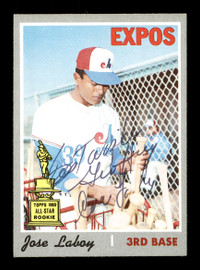 """Jose """"CoCo"""" Laboy Autographed 1970 Topps Card #238 Montreal Expos SKU #168154"""