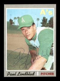 Paul Lindblad Autographed 1970 Topps Card #408 Oakland A's SKU #168197