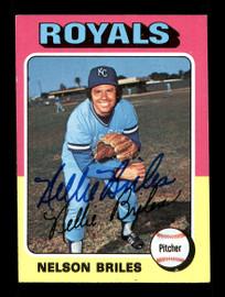 Nellie Briles Autographed 1975 Topps Card #495 Kansas City Royals SKU #168488