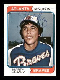 Marty Perez Autographed 1974 O-Pee-Chee Card #374 Atlanta Braves SKU #169353