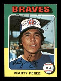 Marty Perez Autographed 1975 O-Pee-Chee Card #499 Atlanta Braves SKU #169407