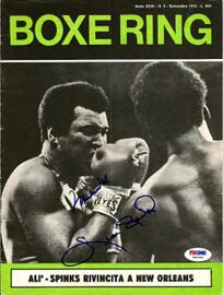 Muhammad Ali & Leon Spinks Autographed Magazine Cover PSA/DNA #S01556