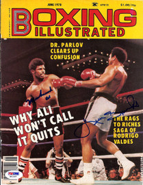 Muhammad Ali & Leon Spinks Autographed Boxing Illustrated Magazine Cover PSA/DNA #S01557