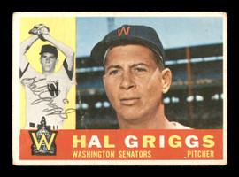 Hal Griggs Autographed 1960 Topps Card #244 Washington Senators SKU #169625