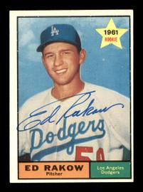 Ed Rakow Autographed 1961 Topps Card #147 Los Angeles Dodgers SKU #169769