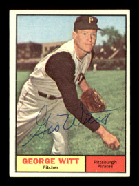 George Witt Autographed 1961 Topps Card #286 Pittsburgh Pirates SKU #169806
