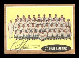 Curt Simmons Autographed 1962 Topps Team Card #61 St. Louis Cardinals SKU #169891