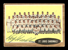 Ray Washburn Autographed 1962 Topps Team Card #61 St. Louis Cardinals SKU #169892