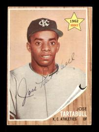 Jose Tartabull Autographed 1962 Topps Rookie Card #451 Kansas City A's SKU #170009