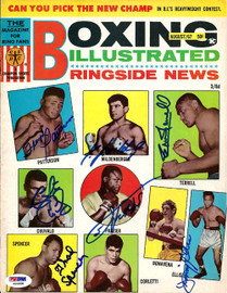 Boxing Greats Autographed Boxing Illustrated Magazine Cover With 7 Total Signatures Including Joe Frazier & Floyd Patterson PSA/DNA #S01608