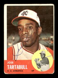 Jose Tartabull Autographed 1963 Topps Card #449 Kansas City A's SKU #170177