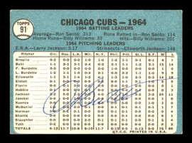 Dick Bertell Autographed 1965 Topps Team Card #91 Chicago Cubs SKU #170409