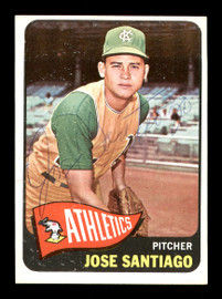 Jose Santiago Autographed 1965 Topps Rookie Card #557 Kansas City A's SKU #170567