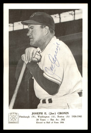 Joe Cronin Autographed 1963 Hall of Fame Picture Packs Photo Boston Red Sox SKU #171233
