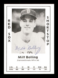 Milt Bolling Autographed 1979 Diamond Greats Card #245 Boston Red Sox SKU #171355