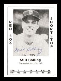 Milt Bolling Autographed 1979 Diamond Greats Card #245 Boston Red Sox SKU #171356