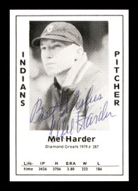 """Mel Harder Autographed 1979 Diamond Greats Card #287 Cleveland Indians """"Best Wishes"""" SKU #171556"""