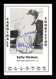 """Solly Hemus Autographed 1979 Diamond Greats Card #172 St. Louis Cardinals """"Best Wishes"""" SKU #171586"""
