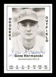 Gene Hermanski Autographed 1979 Diamond Greats Card #92 Brooklyn Dodgers SKU #171594