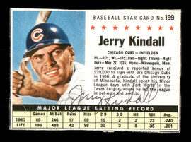 Jerry Kindall Autographed 1961 Post Cereal Card #199 Chicago Cubs SKU #171680
