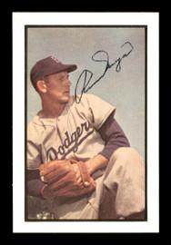 Russ Meyer Autographed 1983 Bowman 1953 Bowman Reprint Card #129 Brooklyn Dodgers SKU #171802