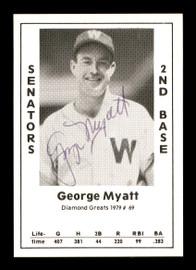 George Myatt Autographed 1979 Diamond Greats Card #69 Washington Senators SKU #171846