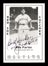 """Roy Partee Autographed 1979 Diamond Greats Card #231 Boston Red Sox """"Best Wishes"""" SKU #171893"""