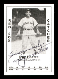"""Roy Partee Autographed 1979 Diamond Greats Card #231 Boston Red Sox """"Best Wishes"""" SKU #171894"""