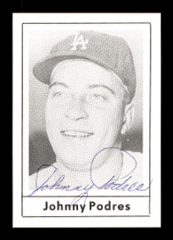 Johnny Podres Autographed 1978 Grand Slam Card #130 Brooklyn Dodgers SKU #171928