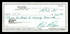 Max McGee Autographed 2.75x6 Check Green Bay Packers SKU #174013