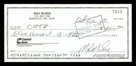 Max McGee Autographed 2.75x6 Check Green Bay Packers SKU #174014