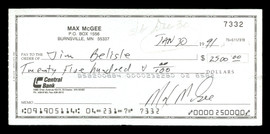 Max McGee Autographed 2.75x6 Check Green Bay Packers SKU #174018