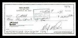 Max McGee Autographed 2.75x6 Check Green Bay Packers SKU #174021