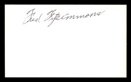 Fred Fitzsimmons Autographed 3x5 Index Card Brooklyn Dodgers SKU #174053