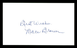 """Mace Brown Autographed 3x5 Index Card Brooklyn Dodgers """"Best Wishes """" SKU #174093"""