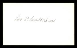 Leo Callahan Autographed 3x5 Index Card Brooklyn Dodgers SKU #174097