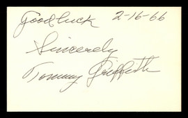 """Tommy Griffith Autographed 3x5 Index Card Brooklyn Dodgers """"Good Luck"""" SKU #174152"""