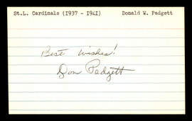 """Don Padgett Autographed 3x5 Index Card St. Louis Cardinals, Brooklyn Dodgers """"Best Wishes """" SKU #174218"""