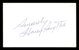"""Harry Smythe Autographed 3x5 Index Card New York Yankees, Brooklyn Dodgers """"Sincerely"""" SKU #174252"""
