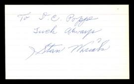 "Stan Wasiak Autographed 3x5 Index Card Brooklyn Dodgers ""Luck Always"" SKU #174277"