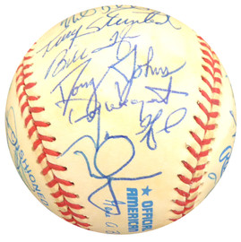 1996 Oakland A's Multi Signed Autographed AL Baseball With 29 Signatures Including Mark McGwire Beckett BAS #A23839