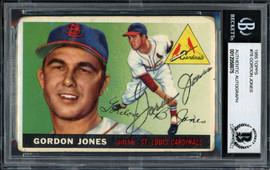 Gordon Jones Autographed 1955 Topps Rookie Card #78 St. Louis Cardinals Beckett BAS #12058875
