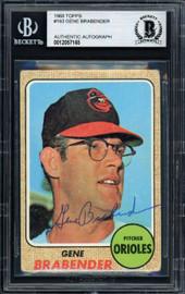 Gene Brabender Autographed 1968 Topps Card #163 Baltimore Orioles Beckett BAS #12057165