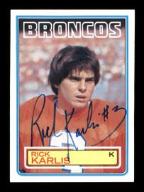 Rich Karlis Autographed 1983 Topps Rookie Card #264 Denver Broncos SKU #176059