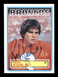Rich Karlis Autographed 1983 Topps Rookie Card #264 Denver Broncos SKU #176060