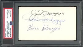 Joe DiMaggio, Vince DiMaggio & Dom DiMaggio Autographed 3x5 Index Card DiMaggio Brothers PSA/DNA #84170312