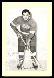 """Marty Pavelich Autographed 1944-63 Beehive Group 2 4.5x6.5 Photo New York Rangers """"Best Wishes"""" SKU #176881"""