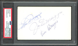 Joe DiMaggio, Vince DiMaggio & Dom DiMaggio Autographed 3x5 Index Card DiMaggio Brothers PSA/DNA #84195083